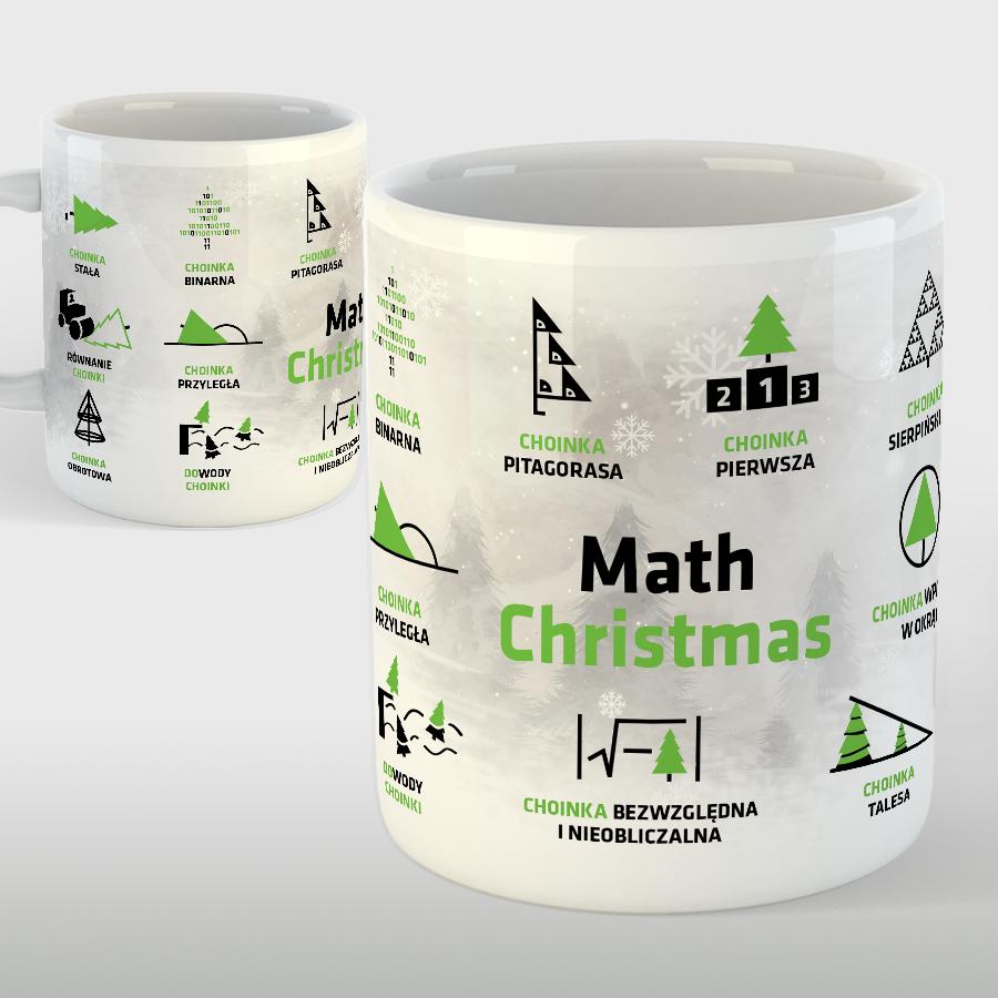 """KUBEK porcelanowy z nadrukiem """"Math Christmas"""
