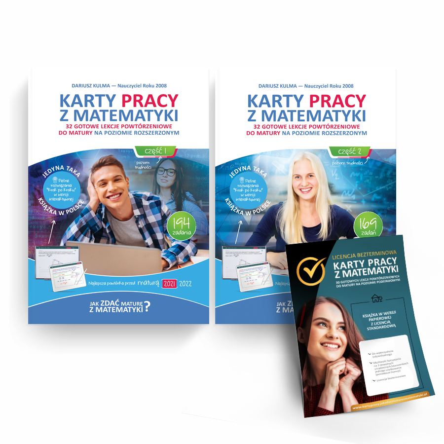 """Pakiet """"Karty pracy z matematyki"""" - poziom rozszerzony część 1 i 2 + licencja standardowa"""